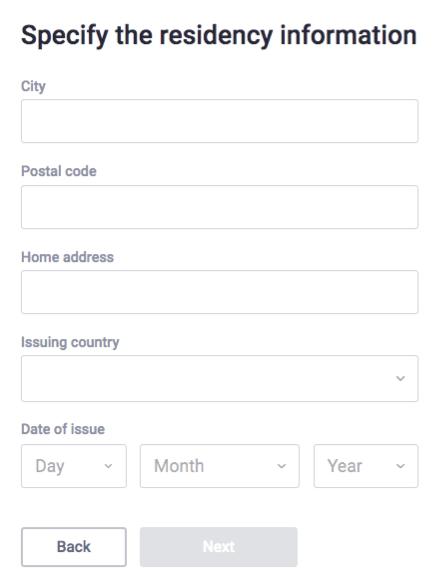 Specify Residency Information