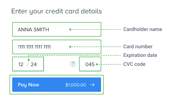 Visa/Mastercard card info form