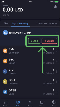 Choose load or create Gift Card
