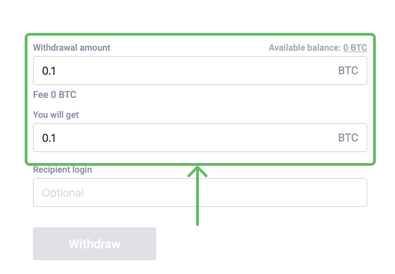 Enter BTC withdrawal amount