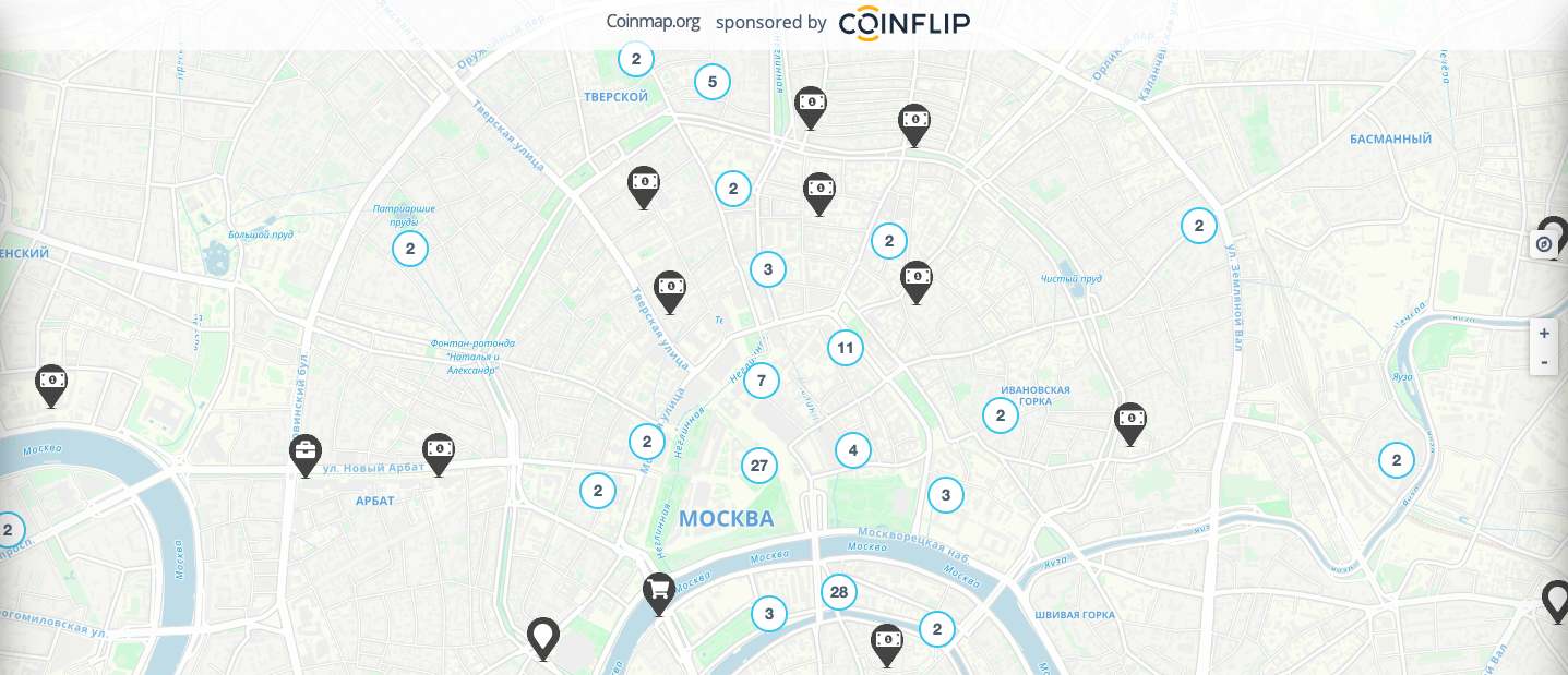 BTC карта кафе в Москве