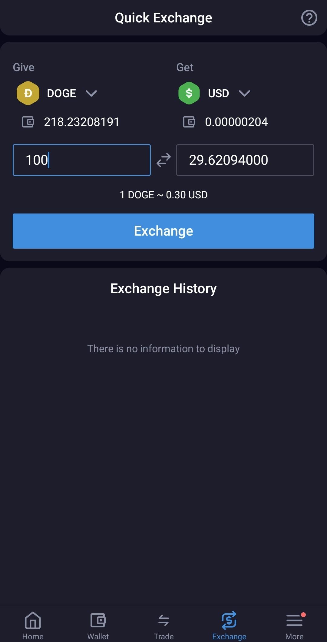 quick exchange crypto